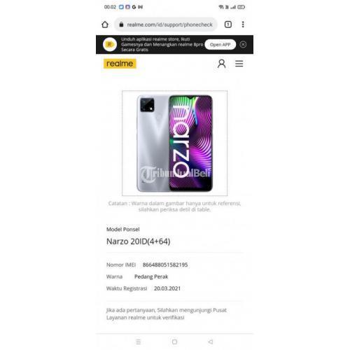HP Realme Narzo 2-0 Ram 4/64GB Fullset Bekas Baterai Awet - Surabaya