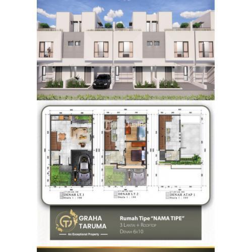 Jual Rumah 3 Lantai 2 Kamar Luas 78m2 di Cirendeu - Tangerang Selatan