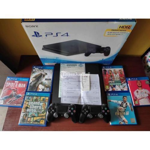 Konsol Game Sony PS4 Slim 500GB 2 Stik Ori Mesin 6 Kaset Bekas Like New - Bandun