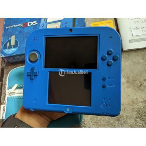 Konsol Nintendo 2DS not XL Blue CFW Luma Fullset Plus Pouch not 3DS 00 - Tasikma