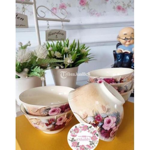 Kerajinan Keramik Set Motif Classic Roses (Mangkok Sop dan Nasi) - Jakarta