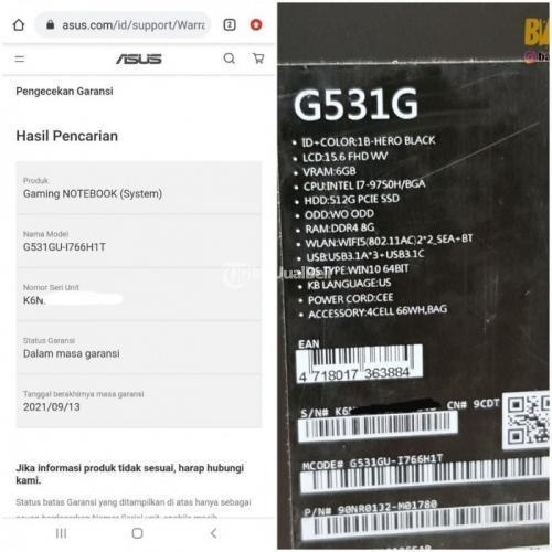Laptop Gaming ASUS ROG Strix Hero III G531GU 1766H1T Bekas Fullset Like New - Solo