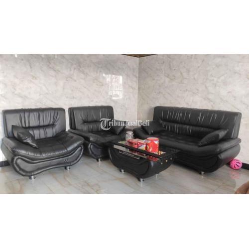 Sofa 4 Seater +Meja Warna Hitam Bekas Mulus Orisinil - Sidoarjo