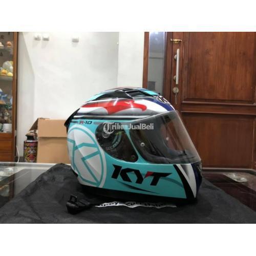 Helm KYT R10 Aquamarine Size L Bekas Mulus Terawat Busa Tebal Visor Clear - Solo