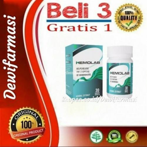 Hemolab Asli 100% Original Obat Herbal Wasir Ambeien Ambeyen Sembelit BAB Berdarah Benjolan Ampuh Manjur Alami Grapto Plus Ambemax Bharata Ambexa Daun Ungu - Jakarta