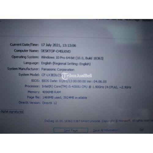 Laptop Panasonic CF-LX3 Core i5-4300u 2,5ghz Ram 4GB Bekas Normal - Solo