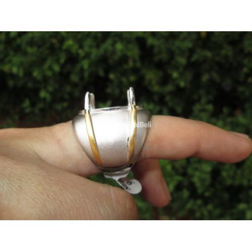 Ring Perak Hongkong Cowok Mewah Warna Doff Kombinasi Gold Gagah PRK032 - Jakarta