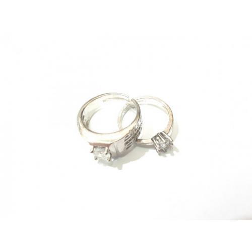 Ring Cincin Couple Titanium Plated Silver Kombinasi Zircon TTN001 - Jakarta Pusat