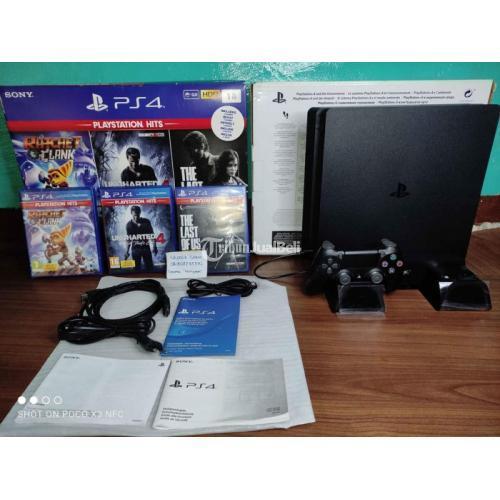 Konsol Game Sony PS4 Slim 1TB Seri 2216B Hits Bundle 3 Game Fullset Bekas - Jaka