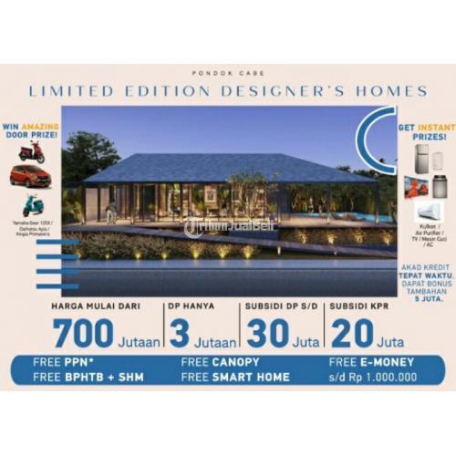 Dijual Rumah 1 Lantai di Pondok Cabe 600 Jutaan Bonus Mobil - Tangerang Selatan